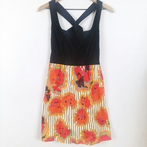Judith March mod print crossed strap back sundress